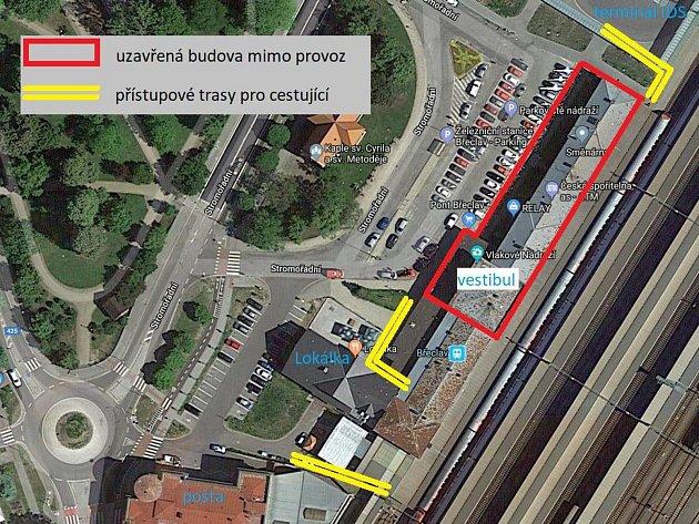 Schéma břeclavského vlakového nádraží. Cestující omezí uzavření vestibulu.