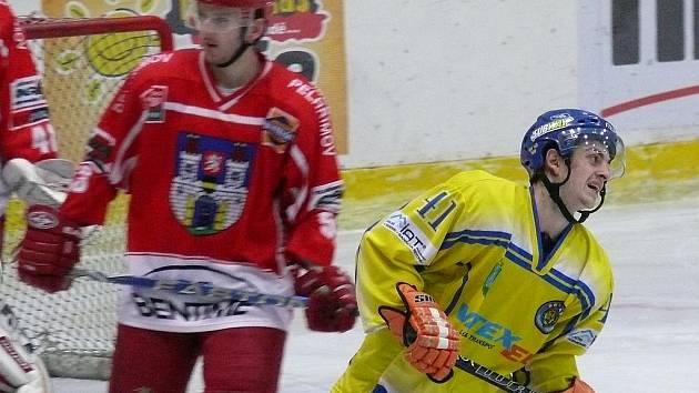 Břeclavští Lvi v utkání s Pelhřimovem.