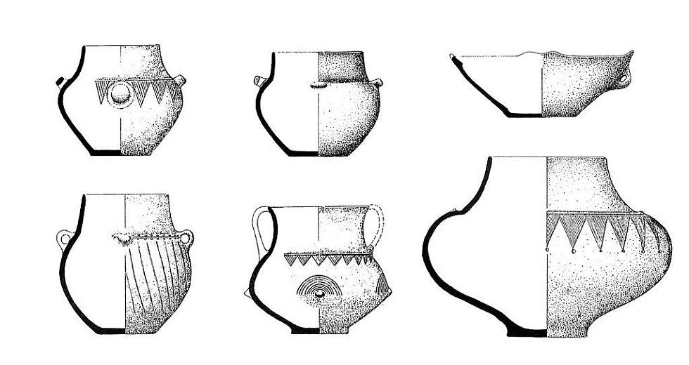 Výběr z keramických nádob středodunajské mohylové kultury.