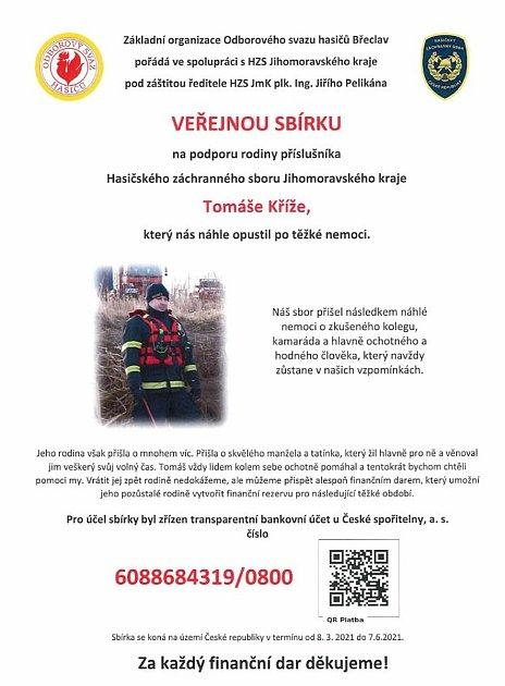 Výzva pro veřejnou sbírku na podporu rodiny profesionálního hasiče Tomáše Kříže.