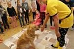 To, že psi dovedou léčit se dozvěděli žáci z ukázky canisterapie na základní škole v Břeclavi. FOTO: Archiv školy