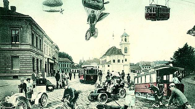 Pohlednice zachycující možnou budoucnost Břeclavi, jak si ji představovali lidé na přelomu 19. a 20. století se s realitou minula. Vzducholodě i nadzemní dráha se ve městě nikdy neobjevily.