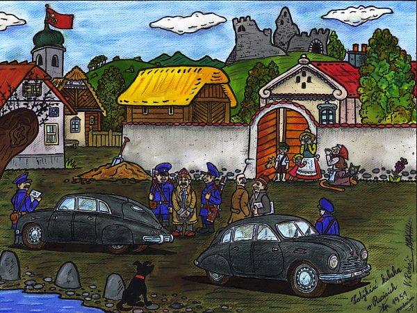 Soubor obrazů Ladění Rusic vystavuje výtvarník a ilustrátor Václav Roháč vGalerii Ulékárníka vpražské Psychiatrické léčebně Bohnice.