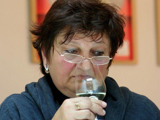 Degustátoři hodnotili v degustační místnosti Národního vinařského centra vzorky mladých vín, se kterými se letos vinaři a vinařské firmy ucházejí o značku Svatomartinské.