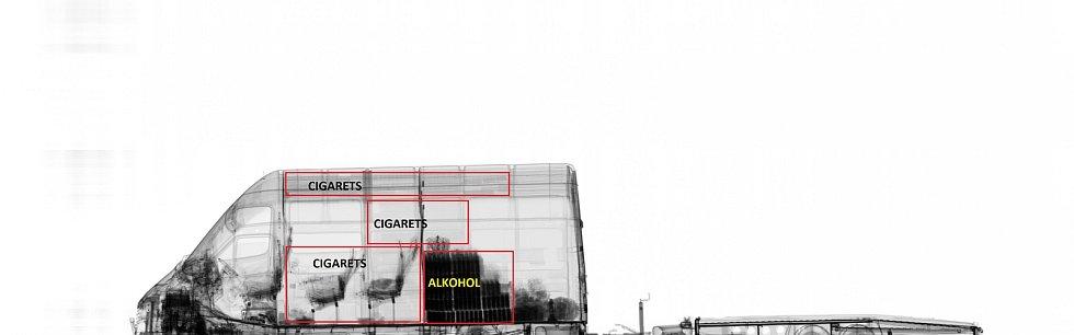 Celníci našli při kontrole na dálnici D2 cigarety v hodnotě asi dvou set tisíc korun ukryté v dodávce.