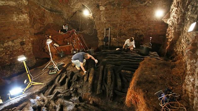 Archeologové objevili pod břeclavským zámkem dřevěnou hradbu pocházející z jedenáctého století