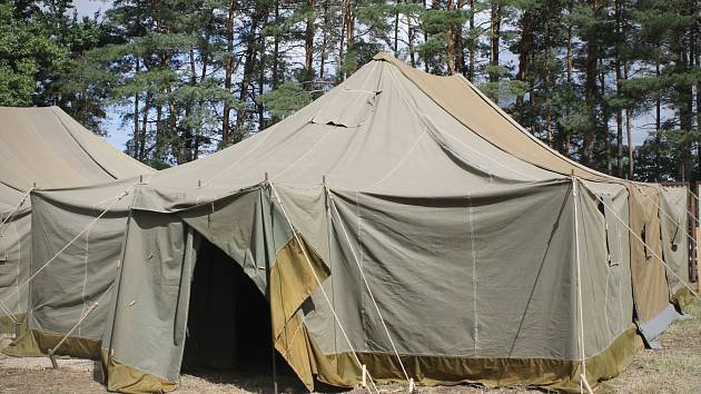 Stanový tábor pro uprchlíky v Poštorné. Ilustrační foto.