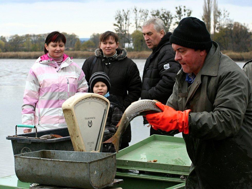 Výlov rybníka Apollo u Lednice spojili rybníkáři s prodejem živých ryb u hráze.