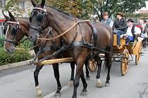 Průvod s koňmi na Velkopavlovickém vinobraní.