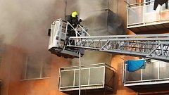 Požár zničil byt na břeclavském sídlišti Slovácka.