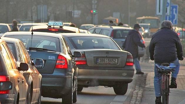 dopravní zácpa v Břeclavi
