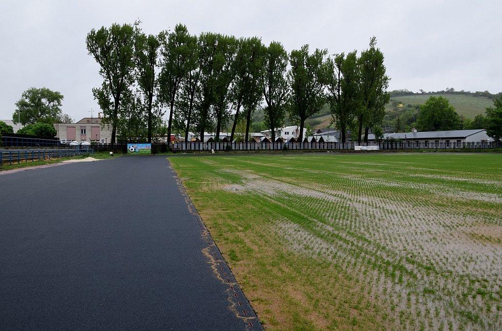 Takto vypadal trávník rekonstruovaného městského stadionu v Hustopečích ve čtvrtek 13. května vpodvečer po celodenním dešti.