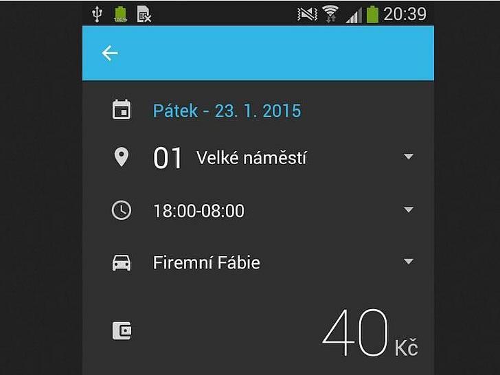 Printscreen obrazovky podezřelé aplikace SMS ParkovaCzeh.