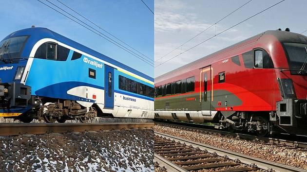 Mezi Břeclaví a Prahou pojedou dvě spojené modré soupravy railjet Českých drah sjedinou lokomotivou Taurus.