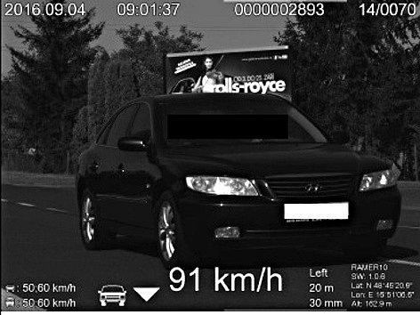 Měření v břeclavské ulici Na Valtické. Řidič na snímku jel rychlostí 91 kilometrů za hodinu.