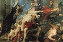 """Velkoformátový obraz Následky války vlámského malíře Petera Paula Rubense ze sedmnáctého století visí nově v jedné z komnat valtického zámku. Ve skutečnosti je sice """"jen"""" velmi kvalitní replikou, kterou zřejmě ztvárnil některý z Rubensových žáků."""