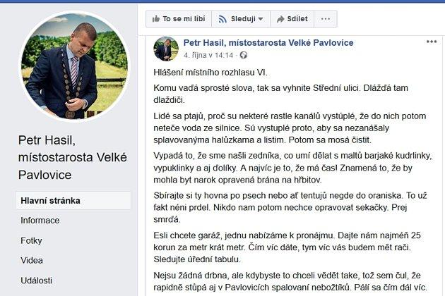 Místostarosta Velkých Pavlovic Petr Hasil si získal pozornost vtipným hlášením zpráv vnářečí.