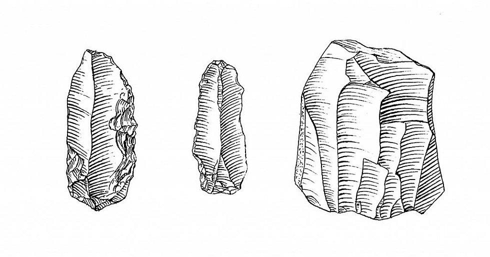 Neolitické kamenné nástroje z Turoldu.Mikulov Turold – archeologické nálezy