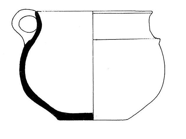 Džbánek a zlomky bronzových kroužků tzv. únětické kultury ze starší doby bronzové z Turoldu .
