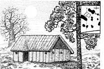DŘEVO–HLINITÉ DOMY. Rekonstrukce domu lidu s moravskou malovanou keramikou.