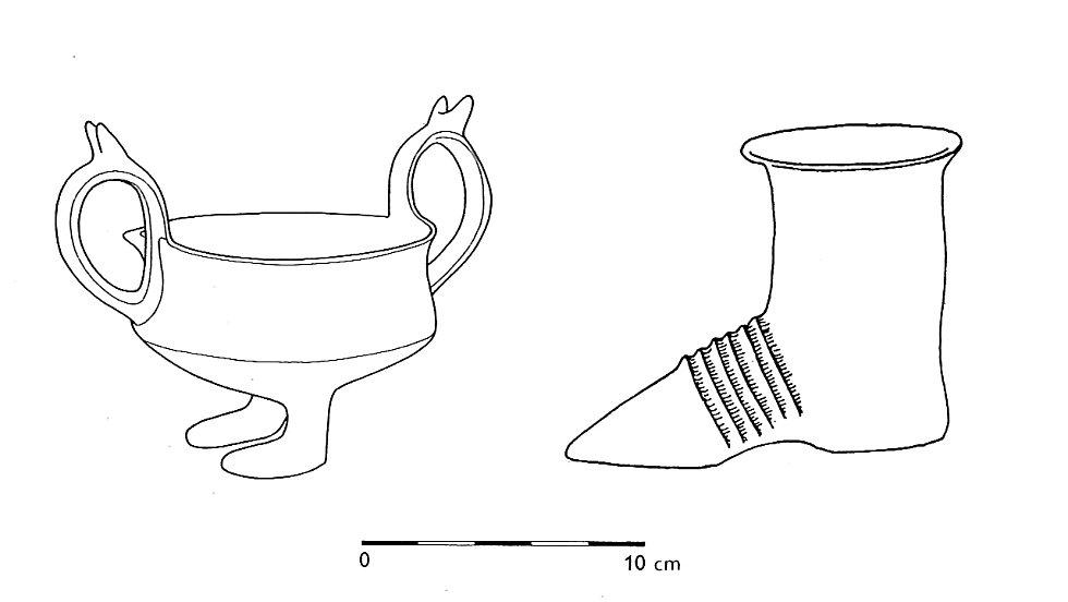 Příklady kultovní keramiky různě imitující předměty či části lidského těla nalezených v Lednici a Klentnici (podle: Podborský 1993: Pravěké dějiny Moravy).