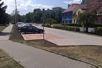 Opravené parkoviště v ulici Sovadinova v Břeclavi - foto po realizaci.