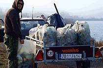 Dobrovolníci z Moravského rybářského svazu vyčistili břeh Dolní Novomlýnské nádrže.