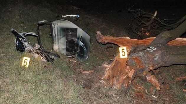 Náraz do stromu auto doslova rozpůlil.