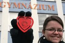 Monika Jelínková z gymnázia ve Velkých Pavlovicích ukazuje, jaká srdce si lidé ve městě kupovali.