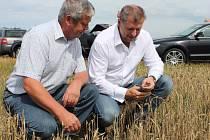 Ministr zemědělství Petr Bendl se ve čtvrtek 19.7.2012 přijel na Znojenmsko osobně přesvědčit o důsledcích sucha na zemědělské plodiny. Na snímku u Trstěnic na Miroslavsku s hlavním agronomem Agroservisu Višňové Miroslavem Kuchaříkem.