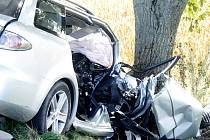 Tři zranění z toho dvě těžká si vyžádala havárie osobního auta 17. září 2015 u Křidlůvek.