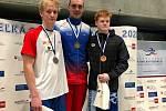 Adam Hlobeň (zcela vlevo) je členem české reprezentace. Foto: archiv TJ Znojmo oddíl plavání