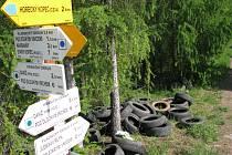 Skládka pneumatik v Národním parku Podyjí