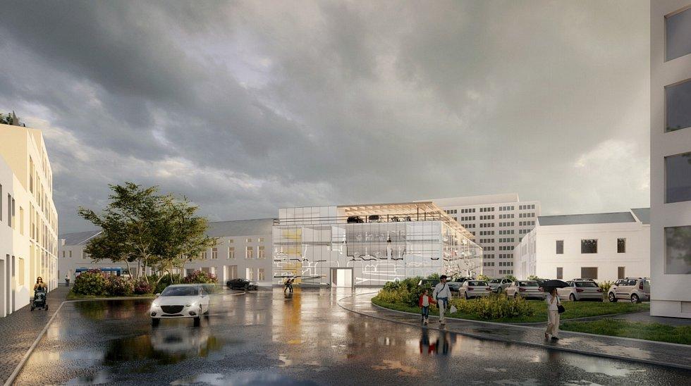 Návrh parkovacího domu v Pražské ulici Znojmo. Vizualizace: Architektonická kancelář GAsAG