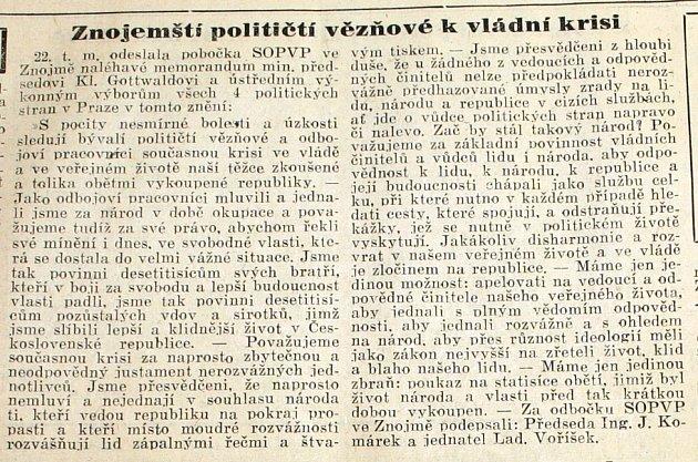 Znojemské noviny zúnora 1948