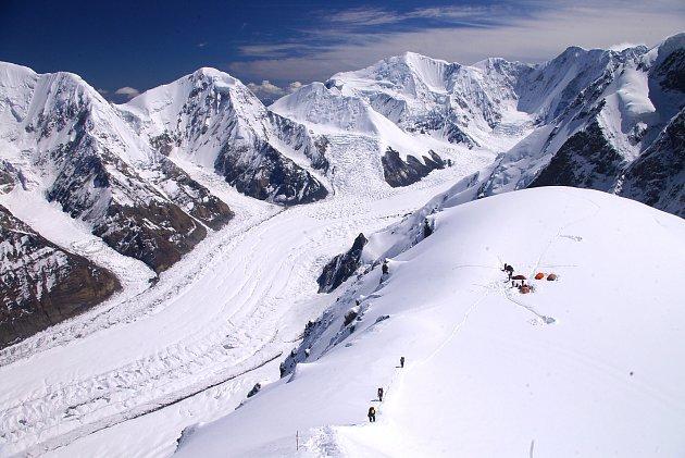 Druhý výškový tábor Chan Tengri vKyrgystánu.