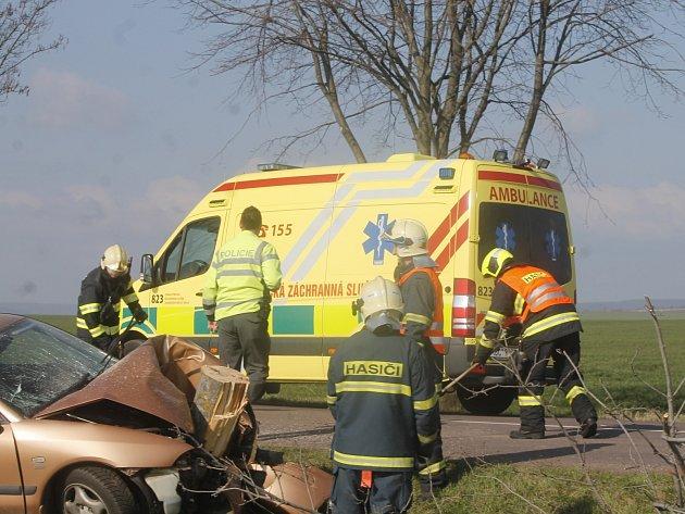 K havárii osobního auta, které na silnici druhé třídy mezi Vítonicemi a Hostěradicemi narazilo do stromu, vyjížděli hasiči a záchranáři ve středu ráno.