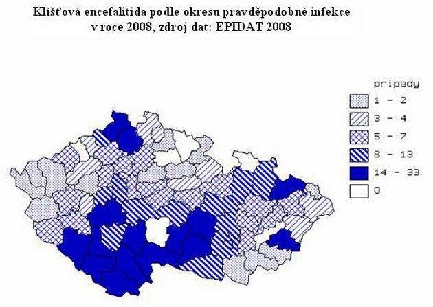 Klíšťová encefalitida podle okresů