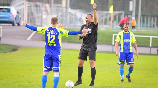Fotbalisté Tasovic vyhráli doma nad Havlíčkovým Brodem 3:1 v 11. kole divize D. Vyfasovali jednu žlutou kartu.