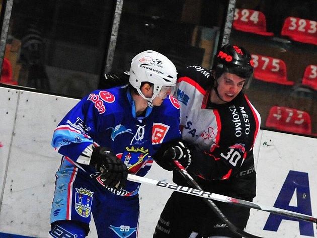 Čtvrtfinále play off 1. ligy, 3. zápas: Znojmo vs Chomutov (v modrém)