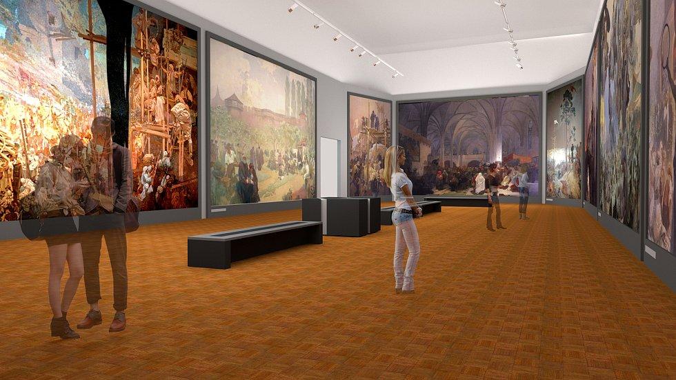 Vizualizace možného vystavení Slovanské epopeje na krumlovském zámku.