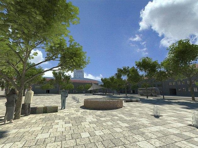 Návrh moravskokrumlovského náměstí - kašna.