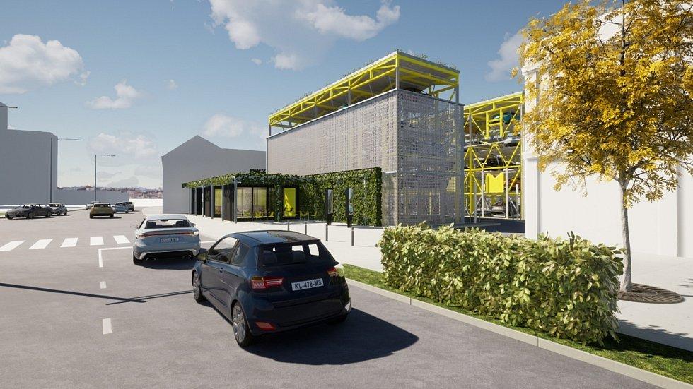 Návrh parkovacího domu v Pražské ulici Znojmo. Vizualizace: Jindřich Janíček, Kamil_Švaříček
