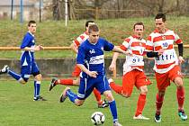 REMÍZA MIROSLAVI. Jedním z týmů, které zamotaly hlavu účastníkům Tipligy, byla Miroslav (v pruhovaném).  Na svém hřišti hrála s Líšní B 0:0.