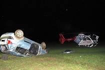 Noční nehoda ve Chvalovicích nedaleko Znojma.