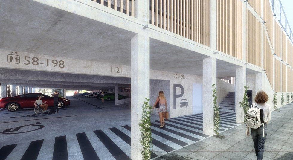 Návrh parkovacího domu v Pražské ulici Znojmo. Vizualizace:  Pavlíček a Hulín architekti