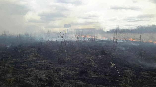 Rozsáhlý požár trávy hasilo pět jednotek hasičů. Vyhlásili druhý stupeň poplachu