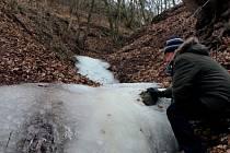 Nevšední obrázek nabízí v těchto mrazivých dnech naučná stezka Krumlovsko-rokytenské slepence. Místní vodopád zamrzl.