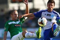 5. kolo fotbalové Gambrinus ligy se hrálo v Jablonci 17. srpna mezi domácím FK Baumit a 1. SC Znojmo. Zleva Karel Piták a Todor Yonov.
