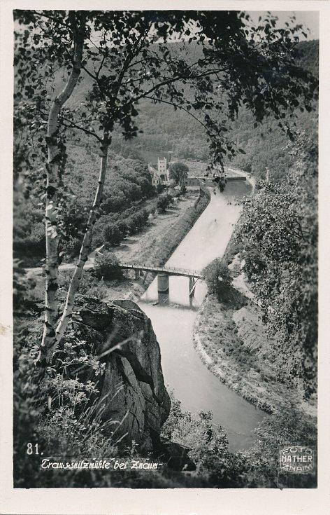 Mlýn v Trauznickém údolí (Hisotrická fotka z roku 1943).